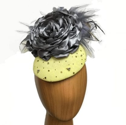 yellow grey cocktail hat