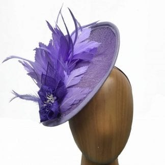 lilac and purple feathers fascinator