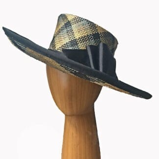 large plaid straw hat