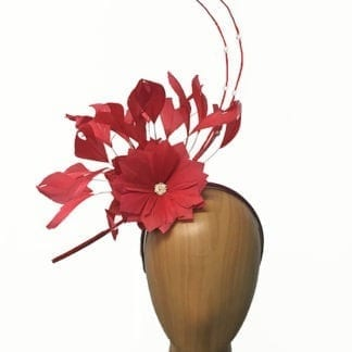 poppy red feathers fascinator