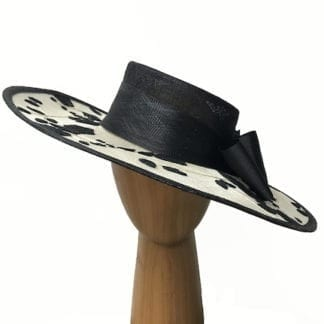 ivory black embroidered hat