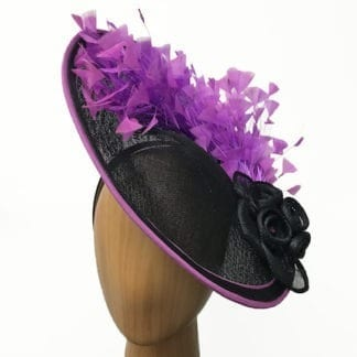 black with violet fascinator
