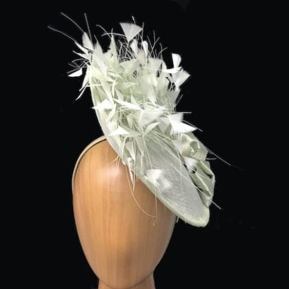 pale green feathered fascinator