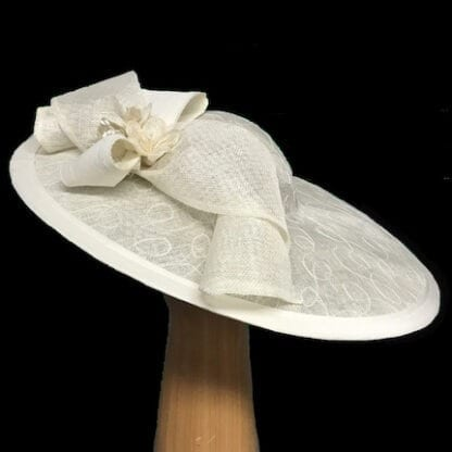 large ivory fascinator hat