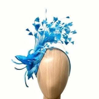 turquoise cut feathers fascinator